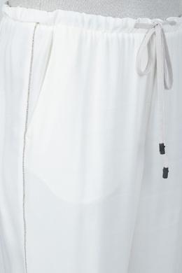 Белые брюки-джоггеры с отделкой Peserico 1501143604