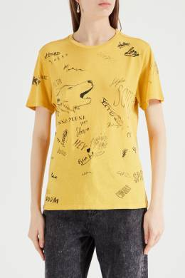 Желтая футболка с надписями Isabel Marant Etoile 958143934