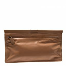 Bottega Veneta Beige Leather Oversized Clutch 212283