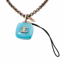 Chanel CC Logo Resin Charm Gold Tone Cell Phone Strap 212938