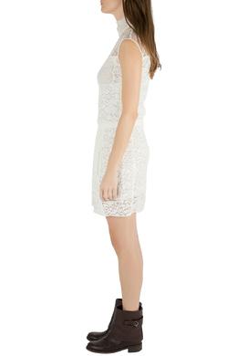 Nina Ricci Ivory Sheer Yoke Lace Turtleneck Dress S 212531