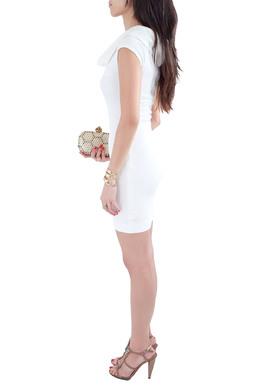 L'agence White Cotton Blend Draped Shawl Neck Bodycon Dress XS L'Agence 212993