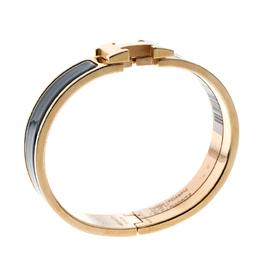 Hermes Clic Clac H Bleu Biarritz Enamel Rose Gold Plated Bracelet PM 140931