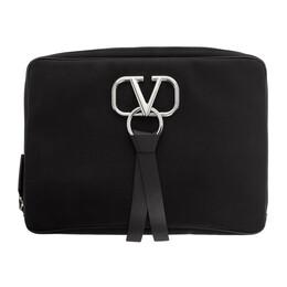 Valentino Black Valentino Garavani Large Nylon VRing Clutch 192476M17101001GB
