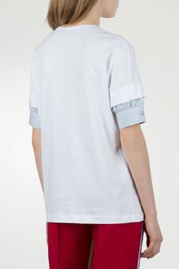Белая футболка с декоративными рукавами No. 21 35143812