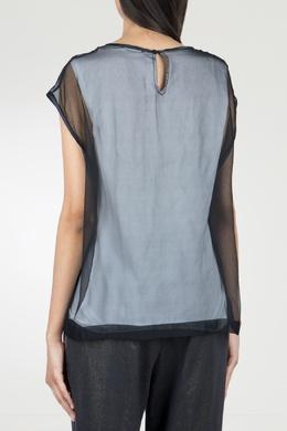 Комбинированная черная блузка с отделкой Peserico 1501143573