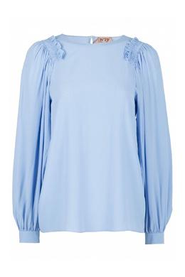 Голубая блузка с оборками на плечах No. 21 35143761