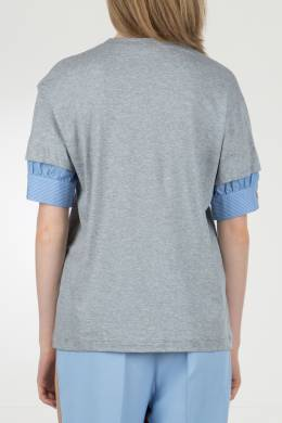 Серая футболка с декоративными рукавами No. 21 35143818