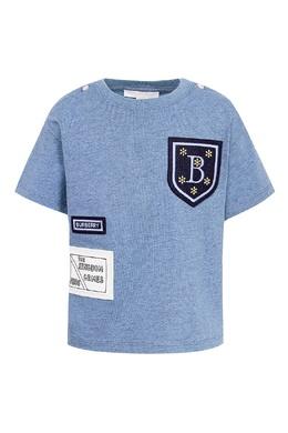 Голубая футболка с аппликациями Burberry Kids 1253143711