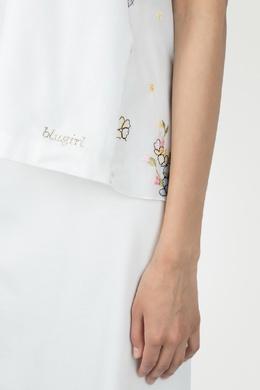 Белая футболка с вышивкой сзади Blugirl 1916144165