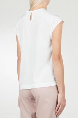 Белая блузка с отделкой кристаллами Peserico 1501143571