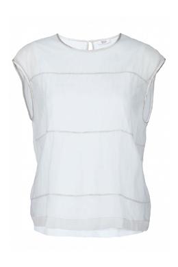 Комбинированная бежевая блузка с отделкой Peserico 1501143572
