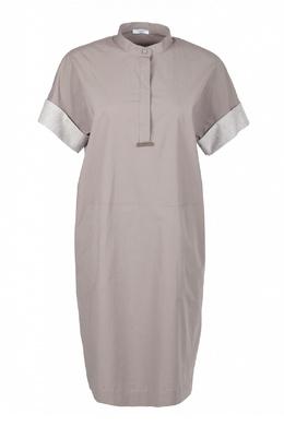 Коричневое платье с отворотами на рукавах Peserico 1501143492