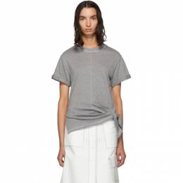3.1 Phillip Lim Grey Side Tie T-Shirt 192283F11000701GB