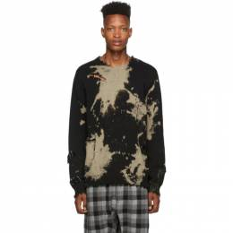 R13 Black Bleached Distressed Crewneck Sweater 192021M20100502GB