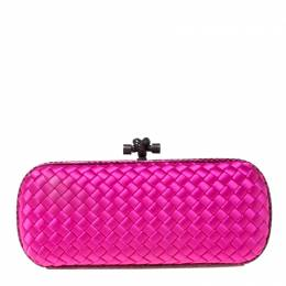Bottega Veneta Bright Pink Intrecciato Satin and Python Trim Knot Clutch 212426