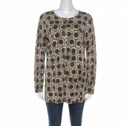 Roberto Cavalli Class Gold and Black Snake Printed Lurex Knit Cardigan M 212845