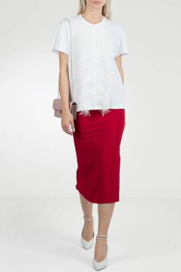 Белая футболка с отделкой перьями No. 21 35143901