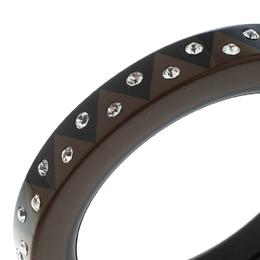 Louis Vuitton Black & Brown Resin Crystal Zig Zag Wide Bangle Bracelet 155259