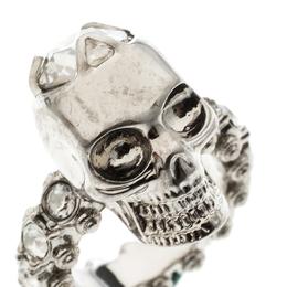 Alexander McQueen Skull Crystal Embedded Silver Tone Ring Size 51 151663