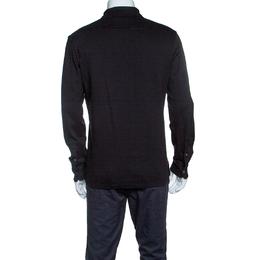 Ermenegildo Zegna Black Cotton Jersey Suede Trim Long Sleeve Polo T-Shirt M 145749