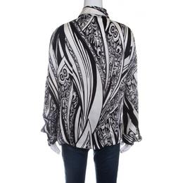 Just Cavalli Monochrome Printed Silk Long Sleeve Blouse L 142022
