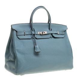 Hermes Ciel Clemence Leather Palladium Hardware Birkin 40 Bag 129861