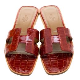Hermes Brick Red Alligator Leather Oran Box Sandals Size 39 119095