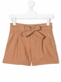 Chloé Kids - шорты с бантом на поясе и блестками 55393663360000000000