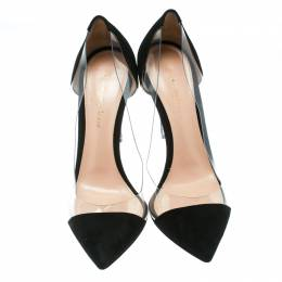 Gianvito Rossi Black Suede and PVC Plexi Pointed Toe Pumps Size 38.5 175049