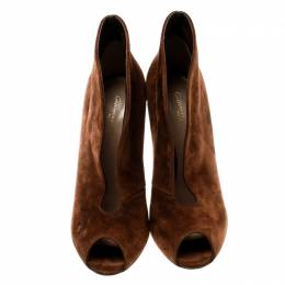 Gianvito Rossi Brown Suede Vamp Peep Toe Booties Size 38 181843