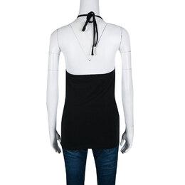 Just Cavalli Black Printed Jersey Halter Top M 139945