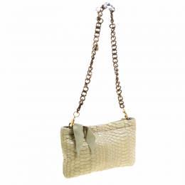 Lanvin Mint Green Python Embellish Crystal Chain Clutch 119397