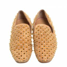Christian Louboutin Beige Suede Roller Boy Spiked Loafers Size 44.5 147320