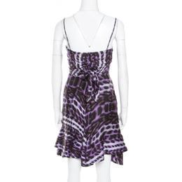 Just Cavalli Purple and Black Animal Printed Silk Tie Detail Sleeveless Dress S 180486