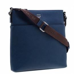 MCM Blue Leather Ottamar Messenger Bag 193982