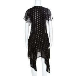 Zadig & Voltaire Noir Crepe Lurex Detail Ruffled Rool Shiny Shirt Dress XS 161560