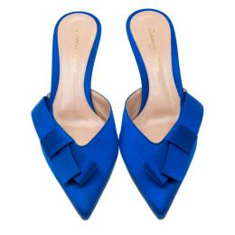 Gianvito Rossi Blue Satin Kyoto Bow Pointed Toe Slip On Mules Size 37.5 207675