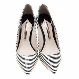 Sophia Webster Monochrome Striped Patent Leather Pointed Toe Pumps Size 38 208117