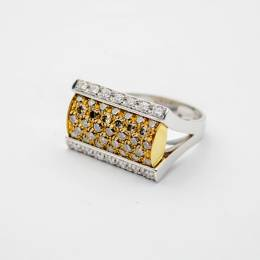 Salvini White & Brown Diamond Gold Ring Size 56 33548
