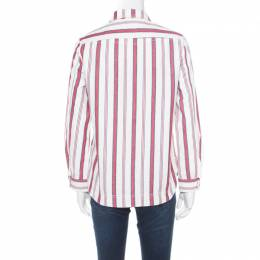 Zadig & Voltaire Red and White Striped Cotton Twill Tach Raye Zipped Shirt S 182703