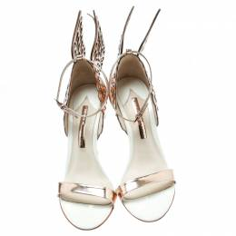 Sophia Webster Rose Gold/White Leather Evangeline Laser Cut Angel Wing Ankle Strap Sandals Size 40.5 197506