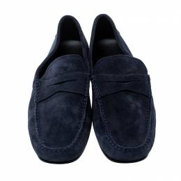 Tod's Blue Suede Penny Loafers Size 38.5 142619