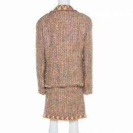 Chanel Vintage Multicolor Textured Tweed Jersey Lined Skirt Suit XXL 196495