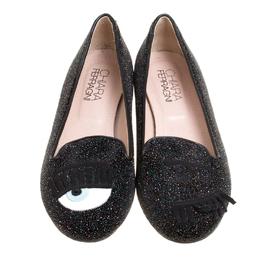 Chiara Ferragni Black Glitter Flirting Wink Eye Ballet Flats Size 36 147018