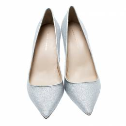 Sophia Webster Metallic Silver Glitter Lola Pointed Toe Pumps Size 41.5 186355