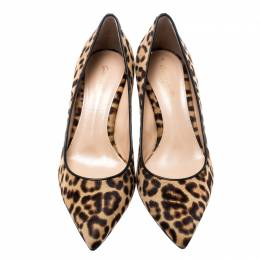 Gianvito Rossi Beige Leopard Print Pony Hair Pointed Toe Pumps Size 37 187014