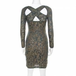 M Missoni Blue Floral Jacquard Lurex Knit Long Sleeve Cross Back Mini Dress S 195228
