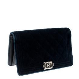 Chanel Blue Quilted Velvet Boy Long Flap Wallet 208511