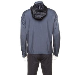 Loro Piana Midnight Blue Silk Rain System Hooded Jacket M 176878